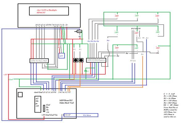 dulitha ranatunga diode symphony figure 7 final product and full wiring diagram all red lines are 5v and green lines are gnd